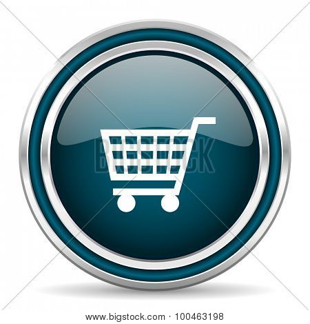 cart blue glossy web icon with double chrome border on white background with shadow