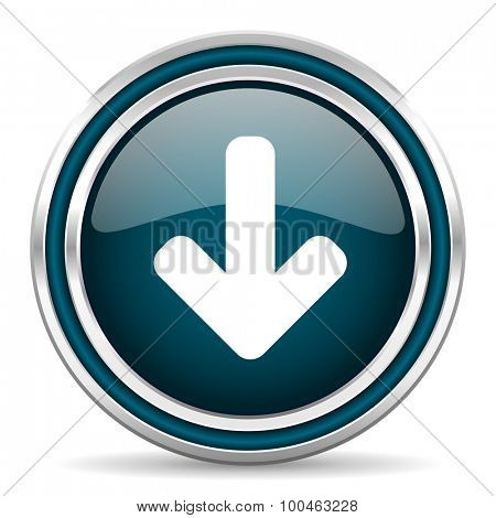 download arrow blue glossy web icon with double chrome border on white background with shadow