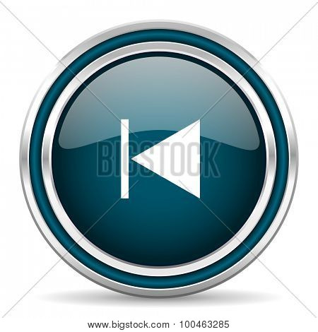 prev blue glossy web icon with double chrome border on white background with shadow