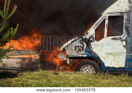 VILNIUS, LITHUANIA - 19 JUNE, 2015: Car fire