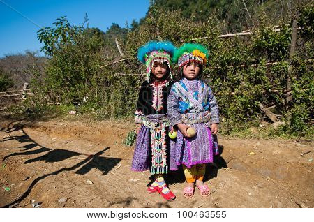 H'mong ethnic kids in traditional custome in Mocchau, Vietnam