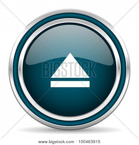 eject blue glossy web icon with double chrome border on white background with shadow