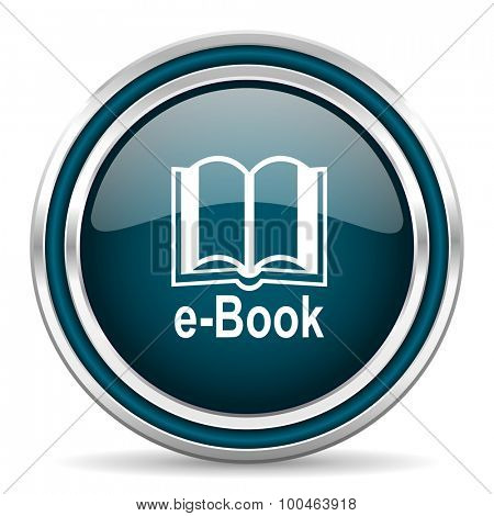 book blue glossy web icon with double chrome border on white background with shadow