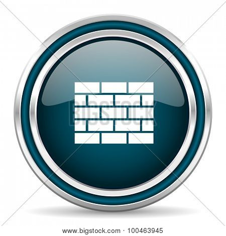 firewall blue glossy web icon with double chrome border on white background with shadow