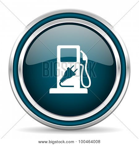 fuel blue glossy web icon with double chrome border on white background with shadow