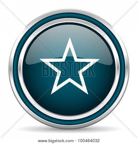 star blue glossy web icon with double chrome border on white background with shadow