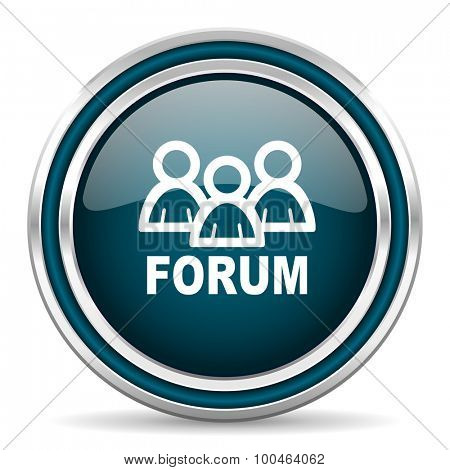 forum blue glossy web icon with double chrome border on white background with shadow