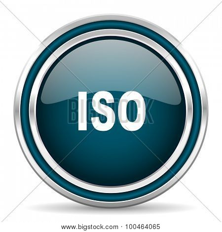 iso blue glossy web icon with double chrome border on white background with shadow