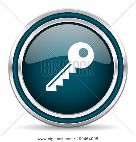 key blue glossy web icon with double chrome border on white background with shadow