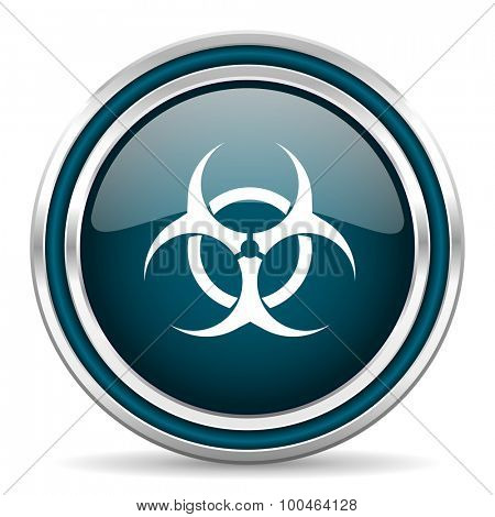 biohazard blue glossy web icon with double chrome border on white background with shadow