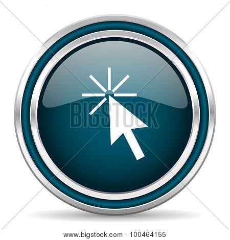 click here blue glossy web icon , round, circle, steel, silver, white, background,modern, shiny, glossy,