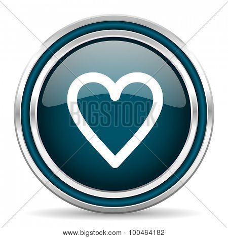 heart blue glossy web icon , round, circle, steel, silver, white, background,modern, shiny, glossy,