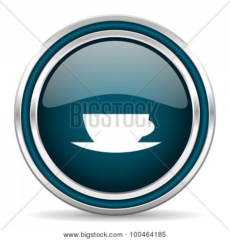 espresso blue glossy web icon , round, circle, steel, silver, white, background,modern, shiny, glossy,