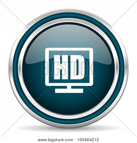 hd display blue glossy web icon , round, circle, steel, silver, white, background,modern, shiny, glossy,