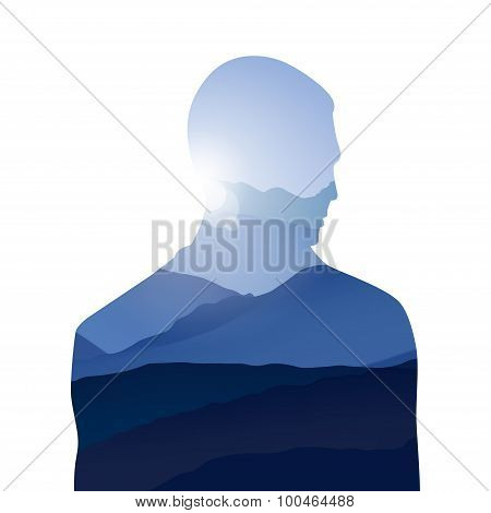 Double Exposure Man And Sky With Mountains