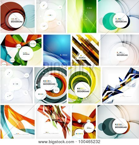 Set of abstract backgrounds. Circles, swirls and waves with copyspace for your message. Banner advertising layouts - templates, identity and wallpapers