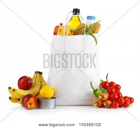 Bag of fresh products isolated on white