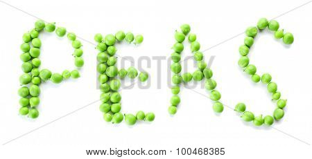 Word Peas made of green fresh peas isolated on white