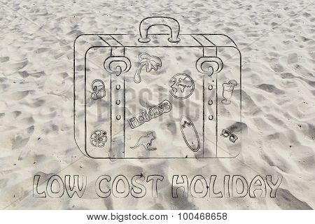 Luggage With Stickers Illustration With Text Low Cost Holidays