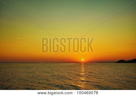 Sunset on beach / Sunset on the Adriatic. Croatia.
