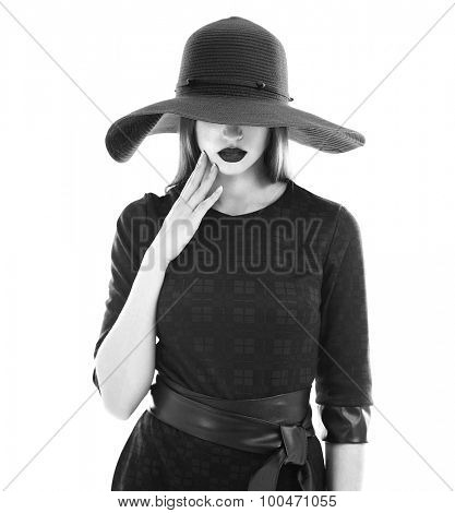 Retro woman portrait isolated on white