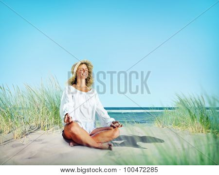Woman doing Meditation with Nature Peaceful Concept