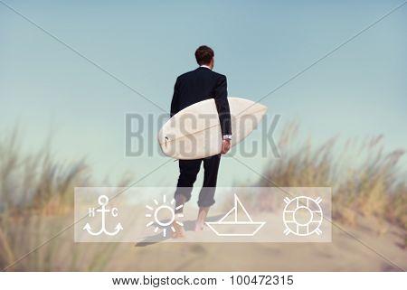 Businessman Surfboard Beach Leisure Anchor Navy Concept