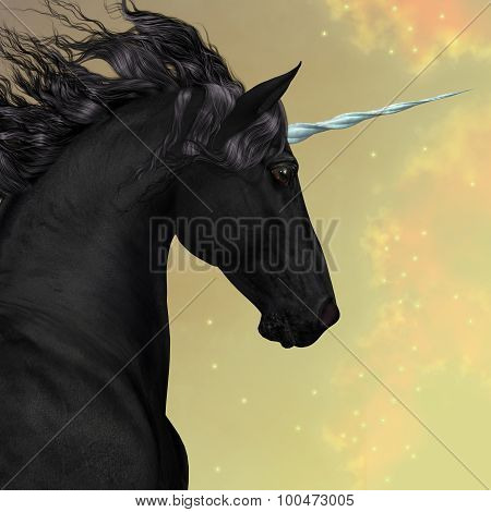 Black Friesian Unicorn