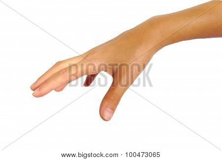 Female hand ready to take or catch something isolated on a white background