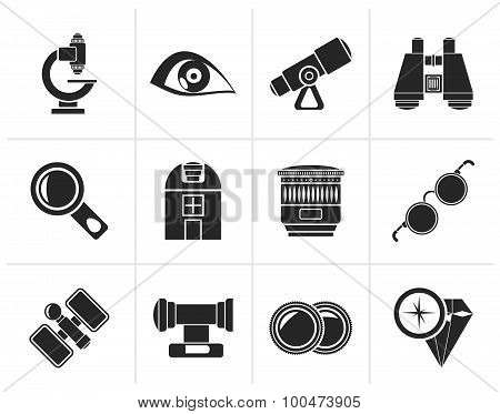 Black Optic and lens equipment icons