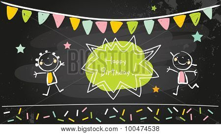 Happy birthday chalkboard. Kids anniversary, party invitation doodle style chalk on blackboard vector illustration.