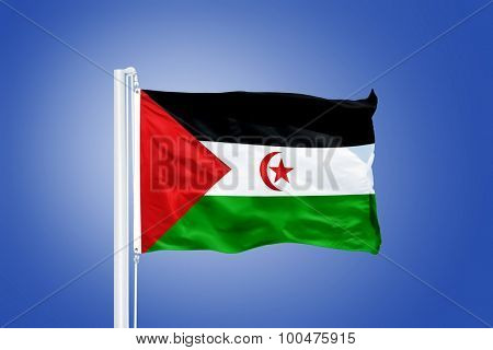 Flag of Sahrawi Arab Democratic Republic flying against a blue sky.