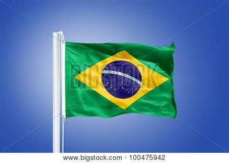 Flag of Brazil flying against a blue sky.