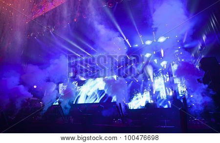 Cluj-Napoca, Romania - July 30, 2015: Crowd of people enjoy Dimitri Vegas & Like Mike live concert at the Untold Festival in the European Youth Capital city of Cluj Napoca