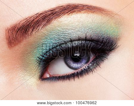 Woman's eye with green eye make-up. Long eyelashes