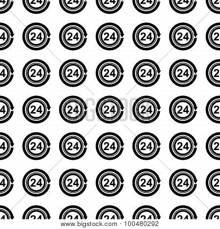 24 Hours Seamless Pattern. Vector