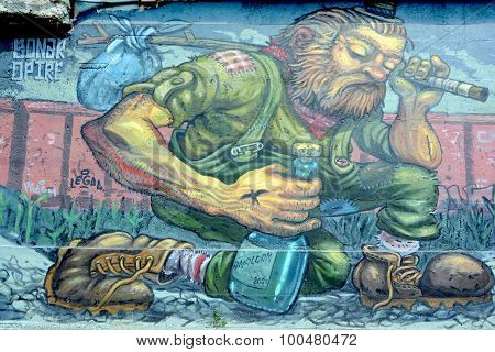 Street art tramp
