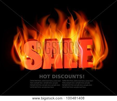 Flaming letters spelling SALE. Vector.