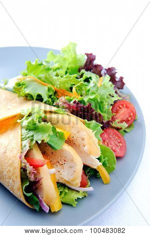 Appetizing ready to eat burrito with fresh vegetables