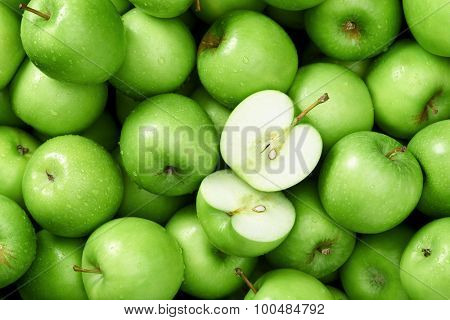 Green apple Raw fruit and vegetable backgrounds overhead perspective, part of a set collection of healthy organic fresh produce