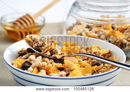 Healthy cereal filled with nutritious grains, oats and raisins
