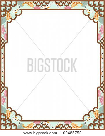 Background Illustration of an Asian Themed Frame Designed with Koi Fishes