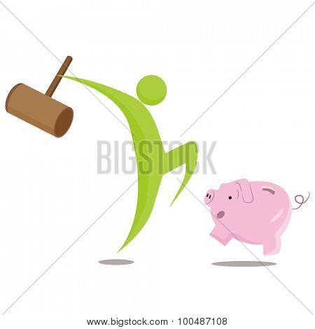 An image of a breaking the bank metaphor cartoon.