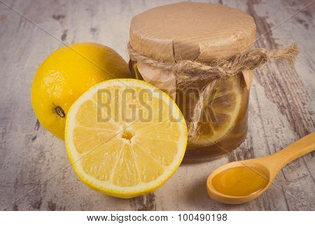 Vintage Photo, Fresh Lemon And Honey On Wooden Table, Healthy Nutrition
