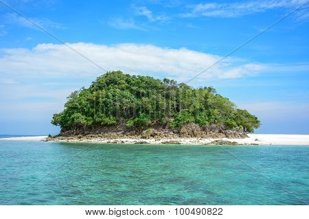Tropical Island With White Beach And Bluesky