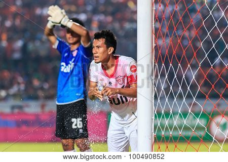 Sisaket Thailand-march 7: Yutthapong Srilakorn Of Saraburi Fc Washed During Thai Premier League Betw