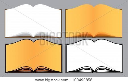 Set of vector opened books