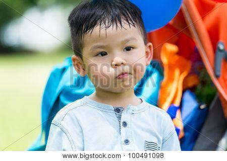 Baby boy feeling disdain