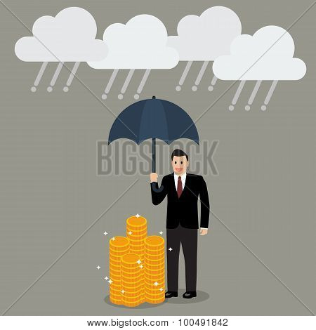 Businessman With Umbrella Protecting His Money From Financial Crisis