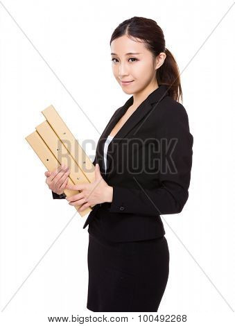 Asian young businesswoman hold with document work